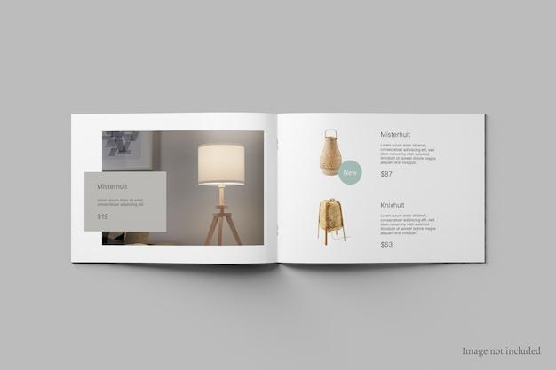Brochura de paisagem e maquete de catálogo vista superior