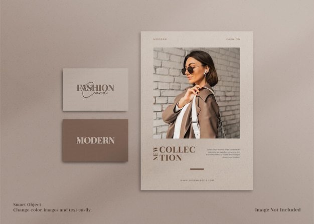Brochura de papelaria minimalista moderna e elegante, maquete de panfleto e cartão de visita com modelo de layout