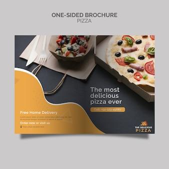 Brochura de pizza de um lado
