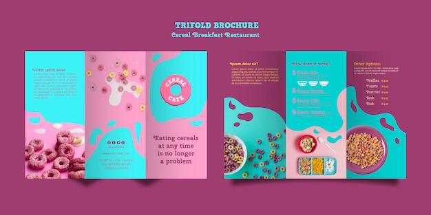 Brochura de restaurante de café da manhã de cereais