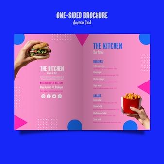 Brochura do menu de cozinha de um lado