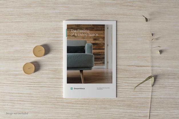 Brochura e catálogo de maquete de vista superior da capa
