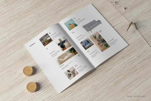 Brochura e maquete de catálogo visão perspctiva