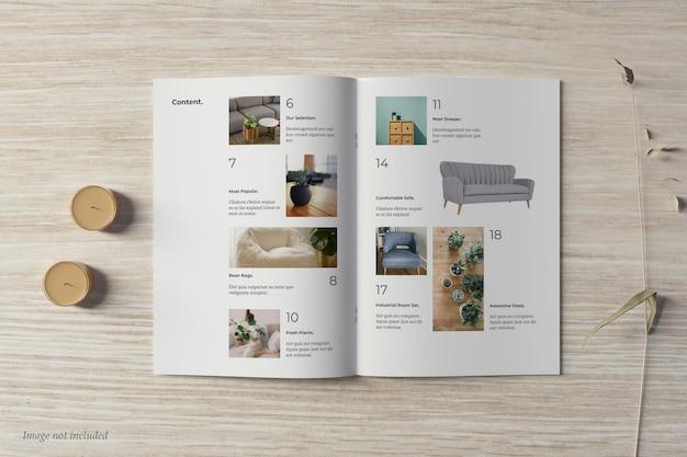 Brochura e maquete de catálogo vista superior