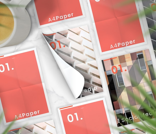 Brochura minimalista flat lay coleção maquete na mesa de mármore