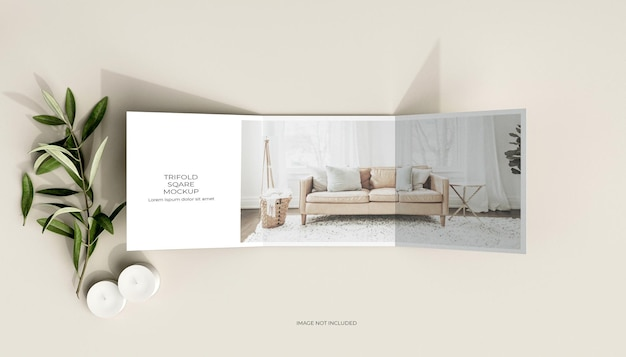 Brochura quadrada com três dobras e maquete de folhas