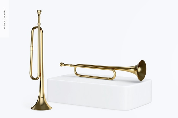 Bugle mockup, standing and dropped