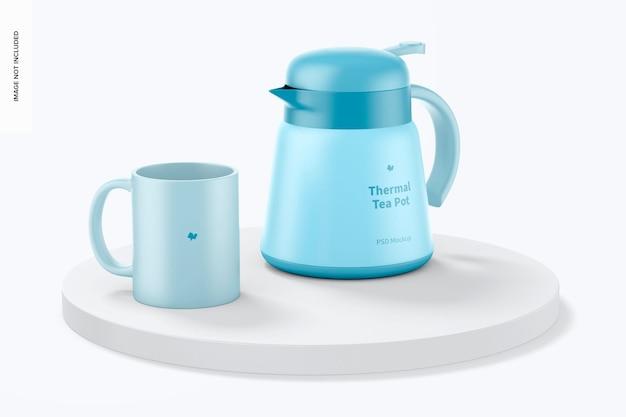 Bule de chá térmico com maquete de caneca
