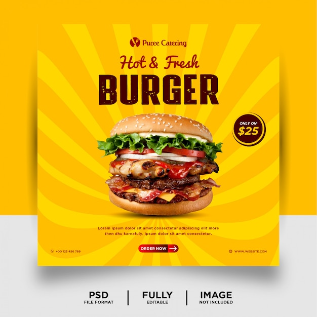 Burger food promotion mídias sociais post banner