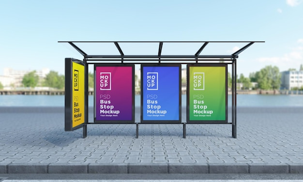 Bus stop bus shelter four sign mockup rendering 3d