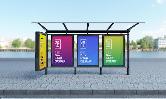 Bus stop bus shelter four sign mockup rendering 3d