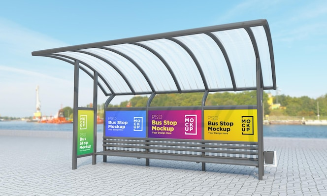 Bus stop bus shelter four signs mockup rendering 3d