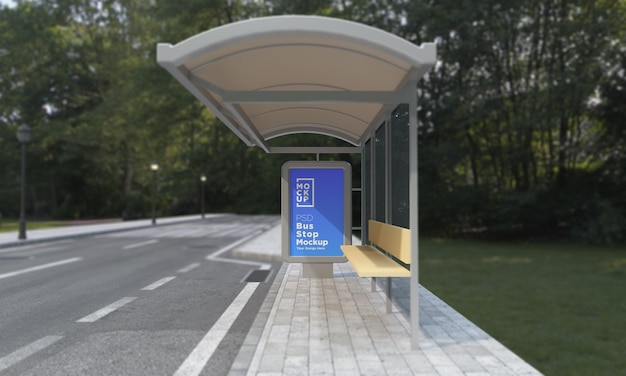 Bus stop bus shelter sing mockup rendering 3d