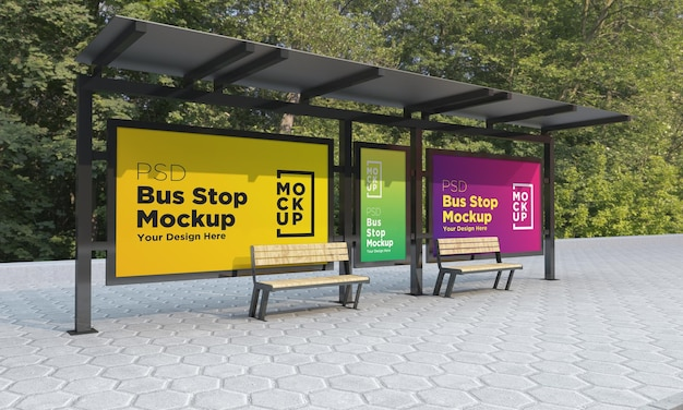 Bus stop bus shelter three signs mockup rendering 3d