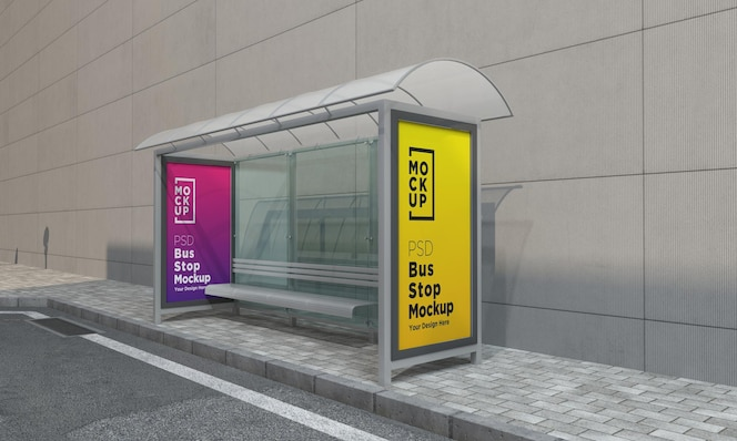 Bus stop bus shelter two sign mockup rendering 3d
