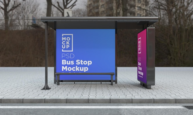 Bus stop bus shelter two signs mockup rendering 3d