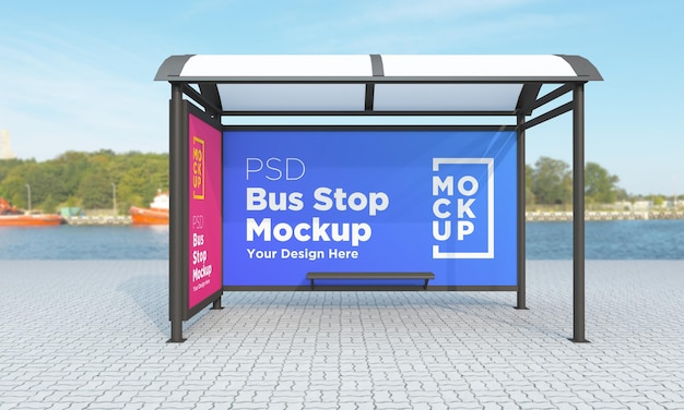 Bus stop bus shelter two signs mockup rendering 3d Psd Premium