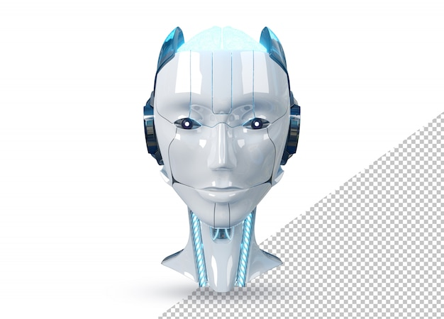 Cabeça de robô ciborgue feminino branco e azul isolada na renderização 3d branca
