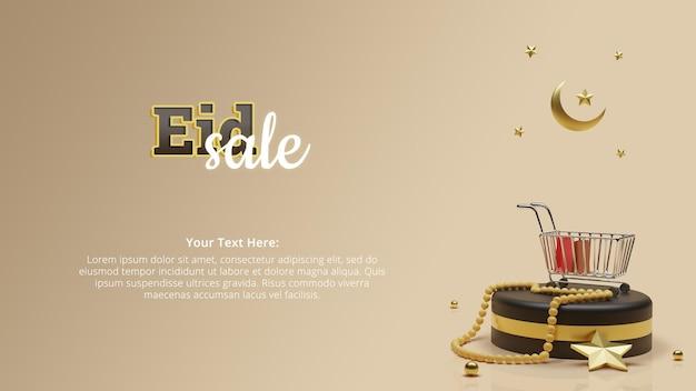 Cabeçalho de banner de venda eid com renderização 3d de conceito islâmico