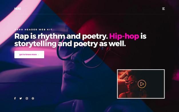Cabeçalho de herói hiphop