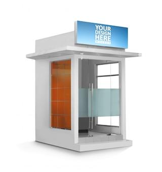 Cabine de caixa eletrônico em branco sobre maquete de fundo branco