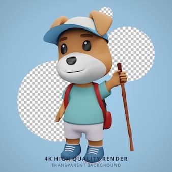 Cachorro fofo mascote de acampamento ilustração de personagem 3d segurando uma vara