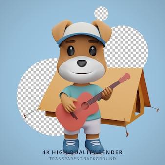 Cachorro fofo mascote de acampamento ilustração de personagem 3d tocando violão
