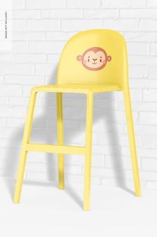 Cadeira alta de plástico para crianças com maquete de parede