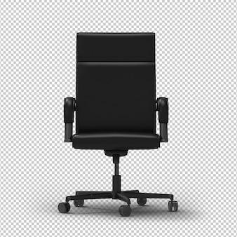 Cadeira de escritório 3d. parede transparente. vista frontal.