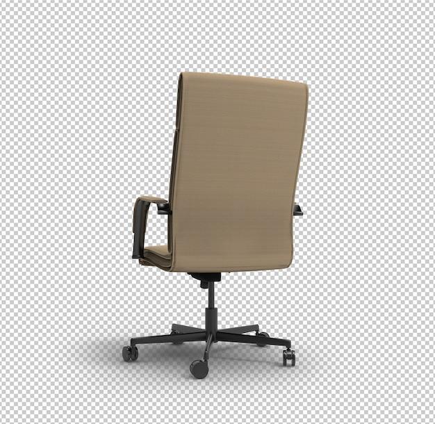 Cadeira de escritório 3d. parede transparente. vista traseira.