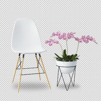 Cadeira e flor brancas na rendição 3d