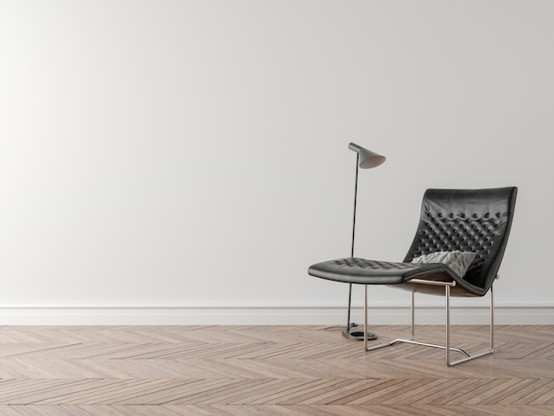 Cadeira e lâmpada da noite no quarto vazio