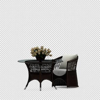 Cadeira isométrica e renderização 3d isolada de mesa
