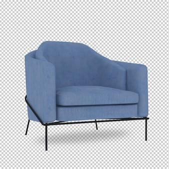 Cadeira isométrica em renderização 3d