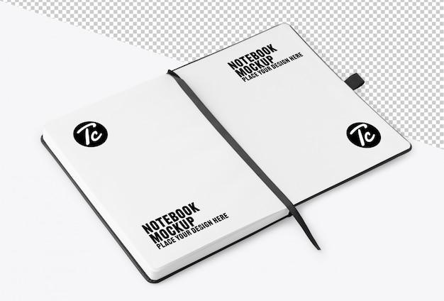 Caderno aberto com maquete de página em branco