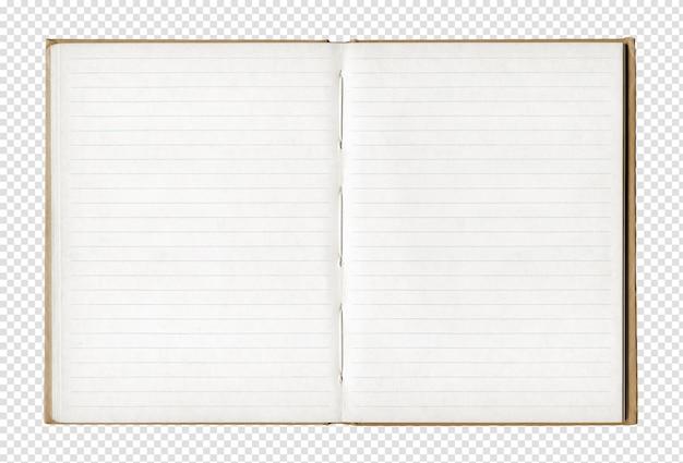 Caderno aberto em branco vintage