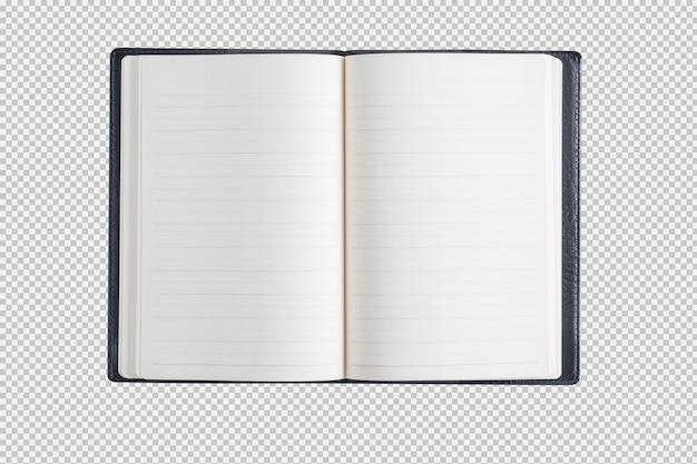 Caderno aberto isolado no fundo branco