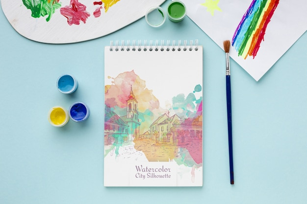 Caderno com aquarelas