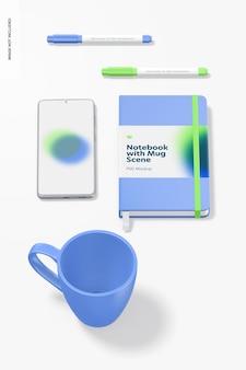 Caderno com maquete de caneca, perspectiva