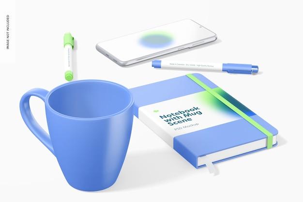 Caderno com maquete de caneca, vista frontal