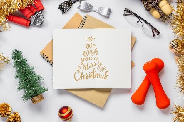 Caderno de maquete para resoluções de ano novo ou metas para um estilo de vida saudável