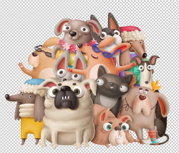Cães engraçados dos desenhos animados