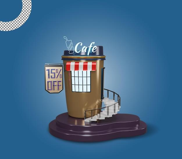 Café 3d ou cafeteria com design premium de construção