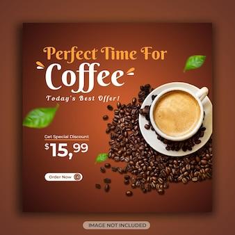 Café, bebida, comida, menu, mídia social, banner quadrado ou modelo de post instagram
