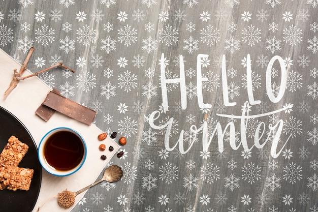 Café da manhã de inverno com mensagem de inverno olá