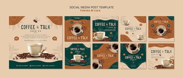 Café e conversa post de mídia social