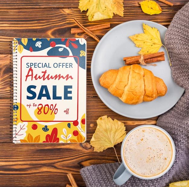 Café e lanche de outono oferece maquete