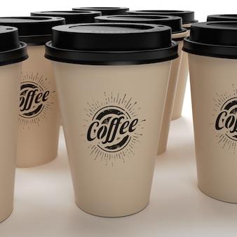 Café tirar copos mockup