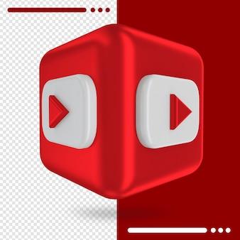 Caixa 3d com logotipo do youtube em renderização 3d