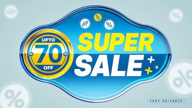 Caixa acrílica azul super da venda 3d 70% fora